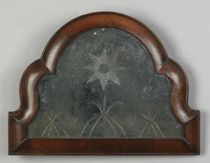 English Queen Anne burl veneer looking glass early 18th c
