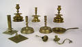 Group of 18th and 19th c brass tableware