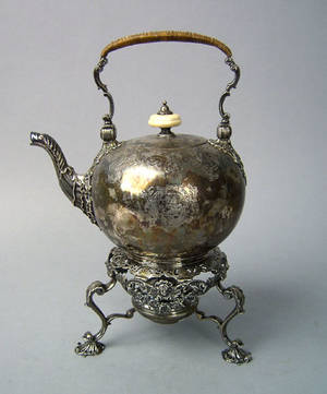 English silver kettle on stand 17351736