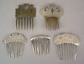 Four silver and one brass hair combs 19th c