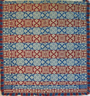 Berks County Pennsylvania red white and blue jacquard coverlet