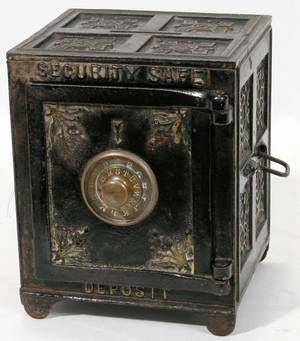 112394 SECURITY SAFE DEPOSIT PRESSED METAL BANK 1887