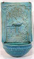 112373 UNSIGNED POTTERY FONT RAISED RELIEF H16 W10
