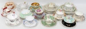 111505 ENGLISH  GERMAN PORCELAIN TEA CUPS  SAUCERS