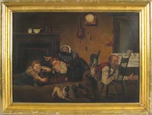Oil on canvas interior scene late 19th c