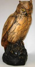 113661 PAINTED SCREECH OWL WGLASS EYES H14 W6