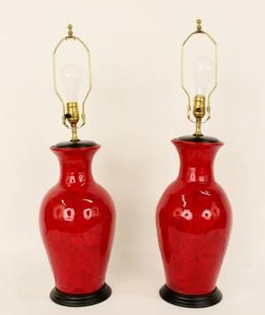 Pair of Red Glazed Ceramic Lamps