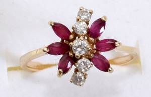 112458 14K YELLOW GOLD BUTTERFLY RUBY  DIAMOND RING