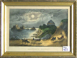 Four Currier  Ives lithographs titled California Scenery