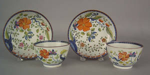 Two Gaudy Dutch cups and saucers 19th c