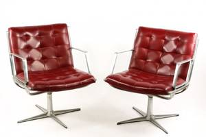 Pair of Mid Century Modern Swivel Armchairs