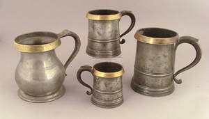 Three English pewter measures midlate 19th c
