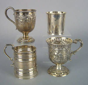 Four Philadelphia coin silver mugs 19th c