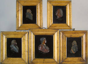 Set of 5 English wax profile busts 19th c