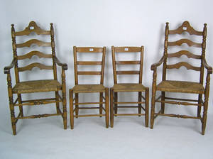 Pair of ladderback armchairs