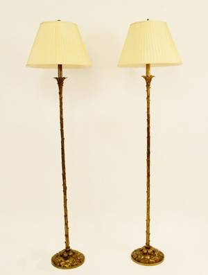 Pair of Cast Bronze Floor Lamps