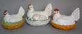 Three Staffordshire hen on nests late 19th c