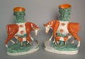 Pair of Staffordshire spill vases 19th c
