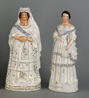 Two Staffordshire figures of the Queen of Prussia and Queen Victoria 19th c