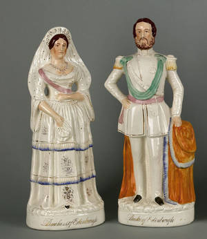 Pair of Staffordshire figures of the Duke and Duchess of Edinburgh 19th c