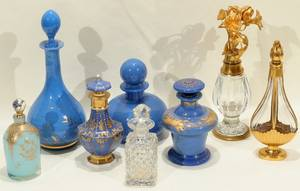011090 FRENCH CRYSTAL  GLASS PERFUME BOTTLES 8 5