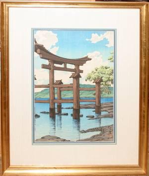 040068 KAWASE HASUI WOODBLOCK TAZAWAKO GOZA NO ISHI