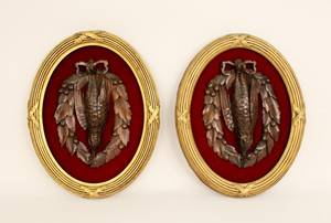Pair of Black Forest Carved Bird Game Wall Plaques