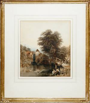 032097 EDMUND M GILL WATERCOLOR THE WATER MILL