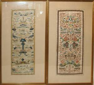 030115 CHINESE SILK EMBROIDERY 19TH C 2 PCS