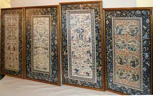 030114 CHINESE SILK EMBROIDERY 19TH C 4 PCS