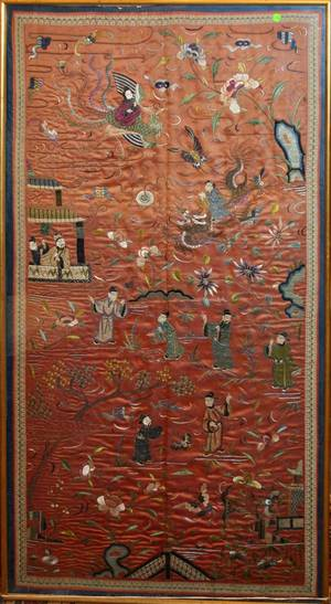 030113 CHINESE SILK EMBROIDERY 19TH C H 57 W 29
