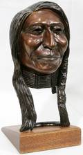 022066 RAYMOND D ANDERSON BRONZE BUST OF AN INDIAN