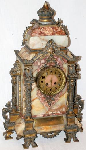 122062 FRENCH BRONZE  ONYX BRACKET CLOCK 19TH C
