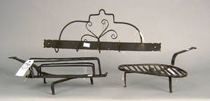 Three pcs of wrought iron to include a toaster