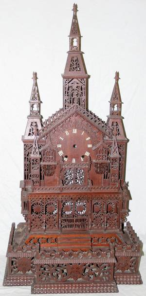 041148 GERMAN GOTHIC STYLE STEEPLE CLOCK C 1890