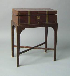 George III brass bound mahogany lap desk on stand ca 1800
