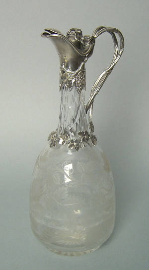 English etched glass ewer mid 19th c
