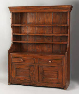 English one piece pine pewter cupboard ca 1800