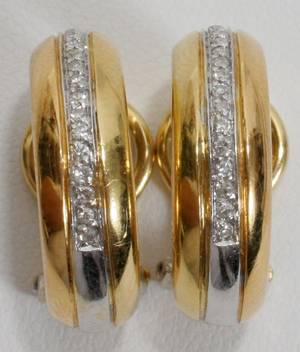 051171 CARTIER 18KT YELLOW GOLD  DIAMOND EARRINGS