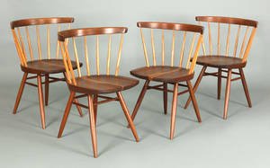 Set of 4 George Nakashima walnut lowback dining chairs
