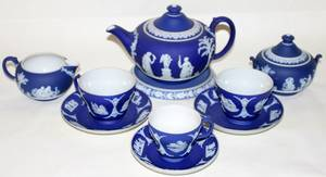 032201 WEDGWOOD BLUE JASPERWARE ASSEMBLED TEA SET