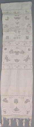 Fine intricate white on white drawn work and embroidered show towel