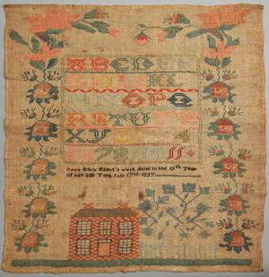 York Pennsylvania silk on linen needlework dated 1837 wrought by Anna Mary Ebert