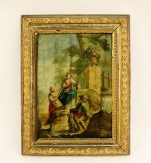 19th C American Figural Oil on Wood Panel