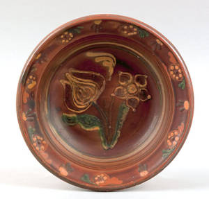 American redware shallow bowl 19th c