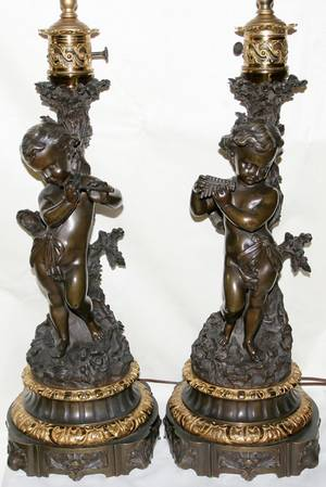 012120 FRENCH BRONZE FIGURAL LAMPS 19TH C PAIR