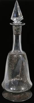 011322 GLASS DECANTER W STERLING SILVER OVERLAY