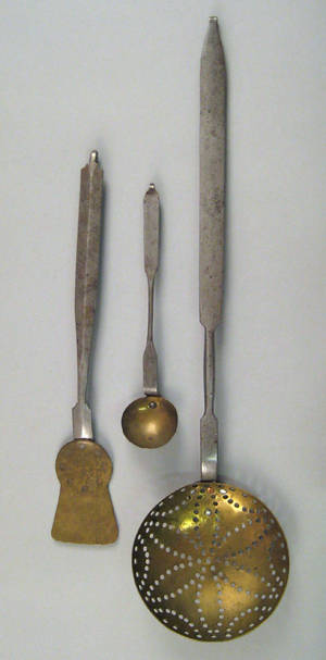 Pennsylvania wrought iron and brass implements 19th c