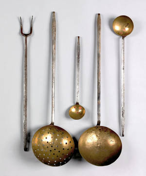 Rare set of five Pennsylvania wrought iron and brass utensils mid 19th c