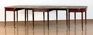 New England Sheraton mahogany three part dining table ca 1820